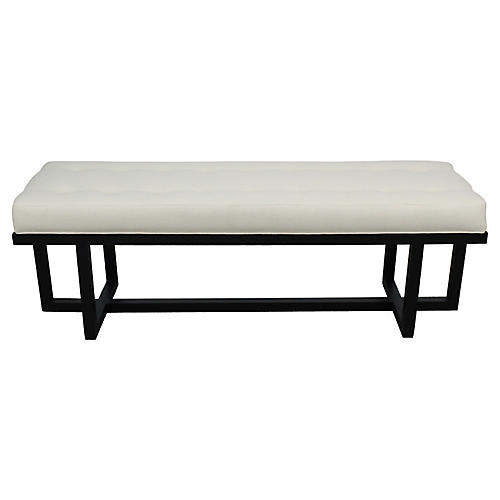 Mid-Century Modern Linen Bench