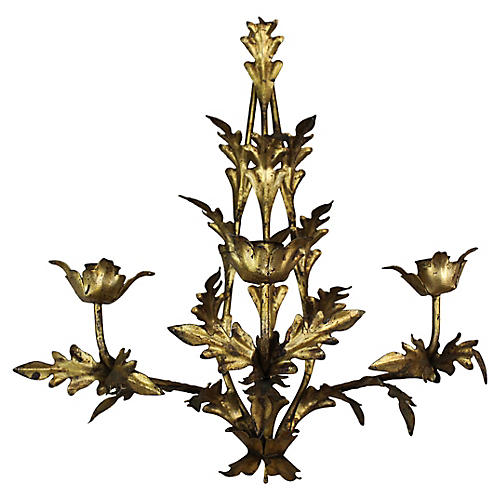 Hollywood Regency Metal Gilt Sconce