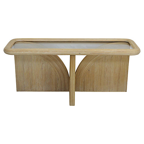 Glass-Top Reed Console