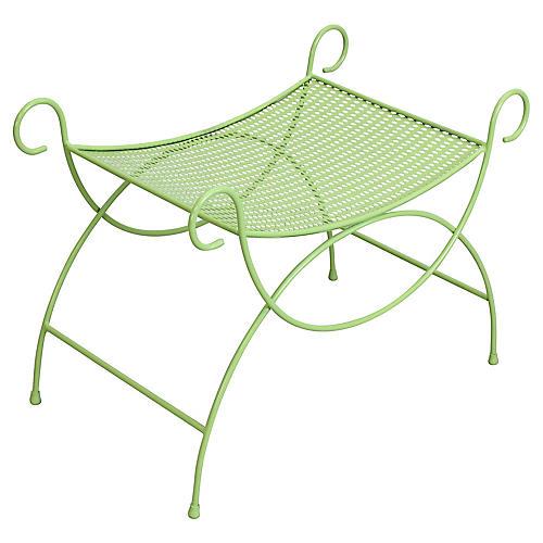 Midcentury Green Metal Bench