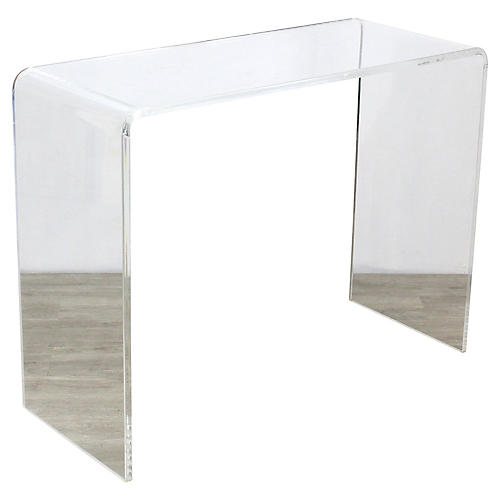 Clear Lucite Waterfall Console
