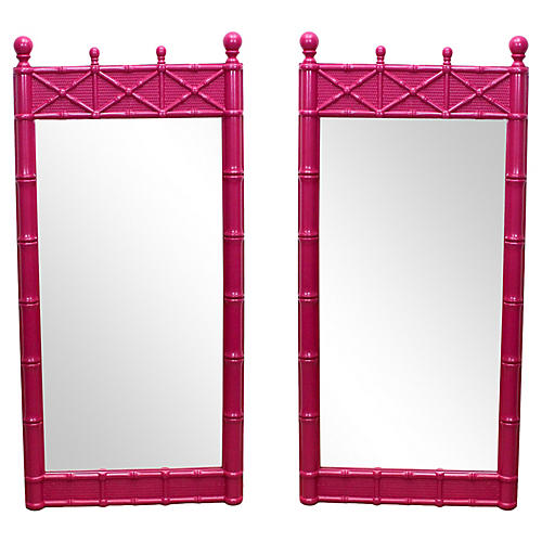 Midcentury Fuchsia Mirrors, Pair