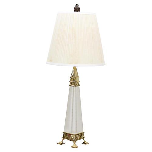 Mid-Century Brass & Lucite Obelisk Lamp