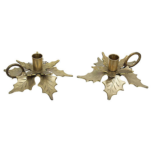 Holiday Candleholders, Pair