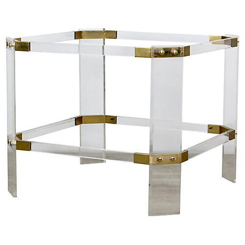 Brass & Lucite Side Table