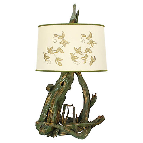 Mid-Century Driftwood Table Lamp