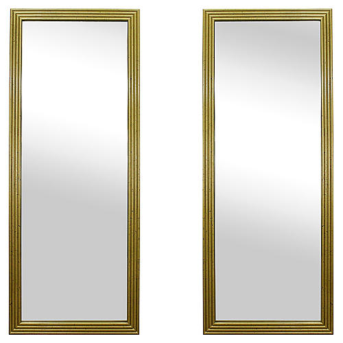 Midcentury Giltwood Mirrors, Pair