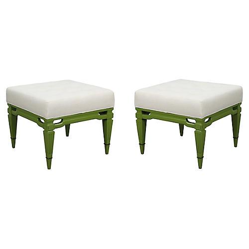 Midcentury Cream Linen Benches, Pair