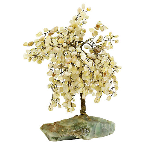 Natural Stone Brass Wire Tree