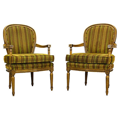 Neoclassical-Style Armchairs, Pair