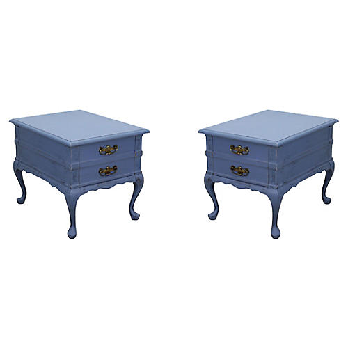 Midcentury Blue Nightstands, Pair