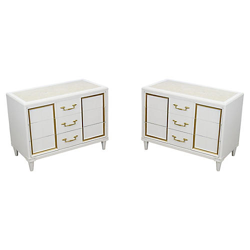Midcentury 3-Drawer Nightstands, Pair
