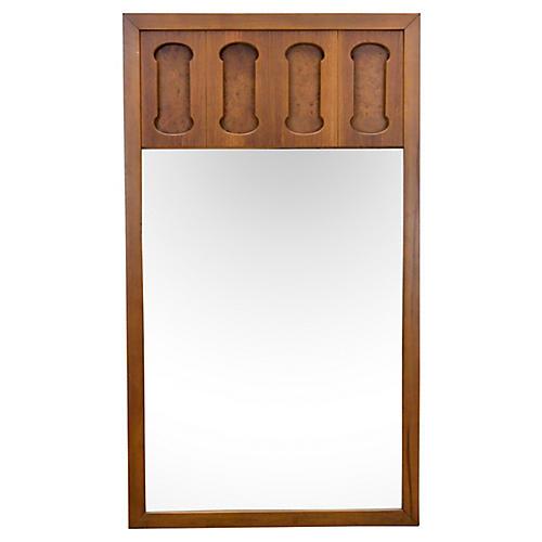 Midcentury Walnut & Burl-Wood Mirror