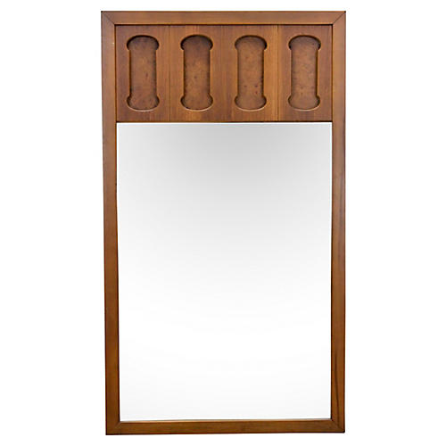 Midcentury Walnut & Burl-Wood Mirror