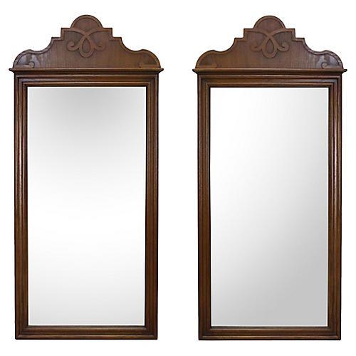 Midcentury Walnut Mirrors, Pair