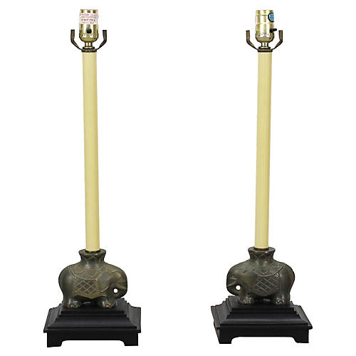 Candlestick Table Lamps, Pair