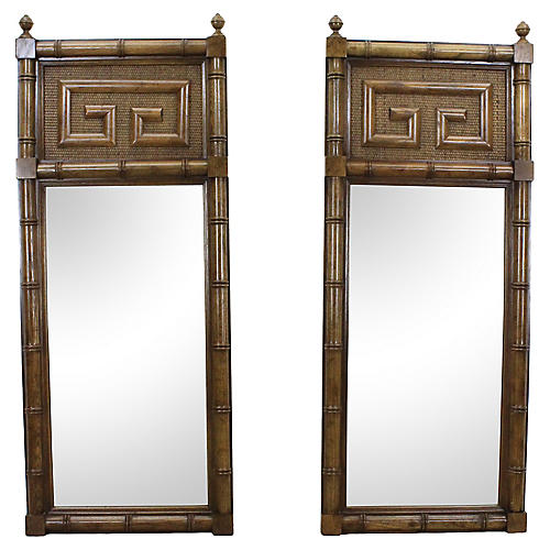 Faux-Bamboo Greek Key Mirrors, Pair