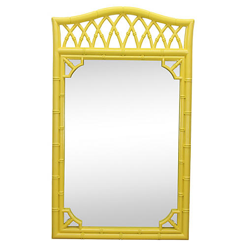 Yellow Faux-Bamboo Mirror