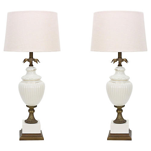 Hollywood Regency Ceramic Lamps, Pair