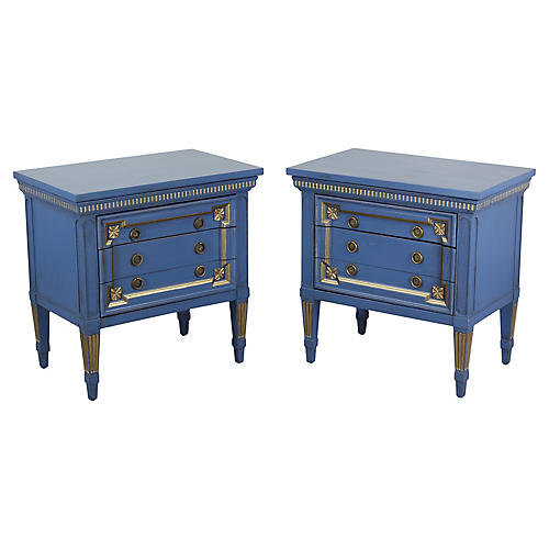 Pair of Mid-Century Blue Nightstands
