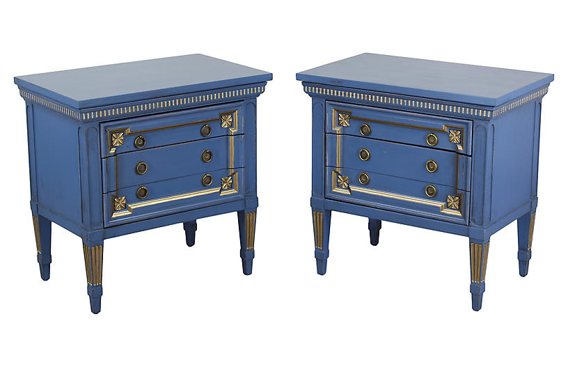 Pair of Mid-Century Blue Nightstands