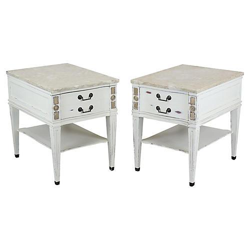 Pair of Mid-Century Cream Nightstands