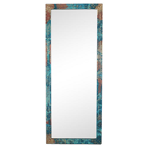 Mid Century Hand Painted Reeded Mirror