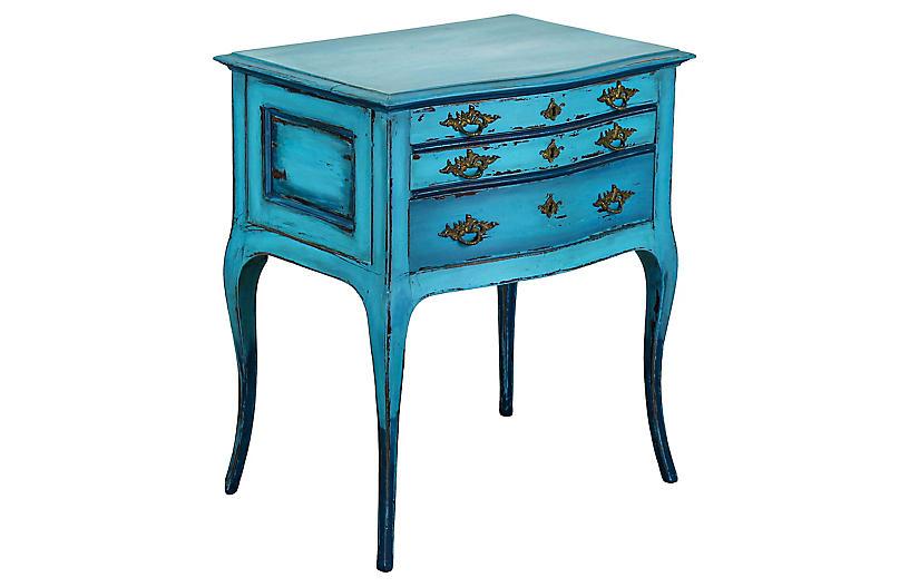 Louis XV Turquoise Nightstand