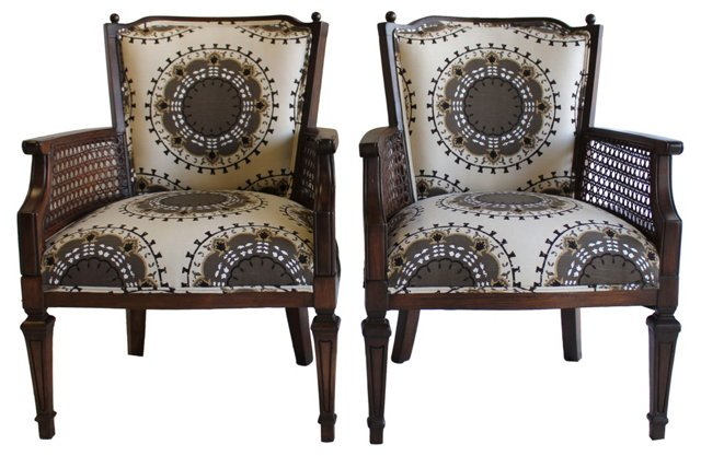 Medallion-Pattern  Chairs, Pair