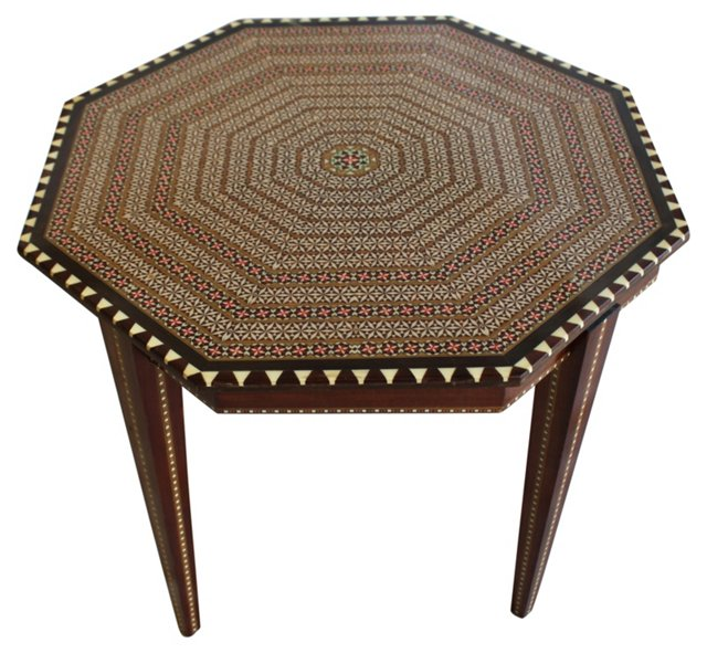 Octagonal Inlay Side Table