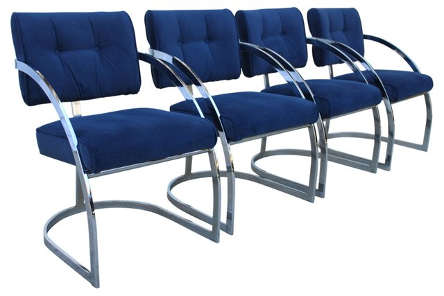 Blue Chrome Chairs, S/4