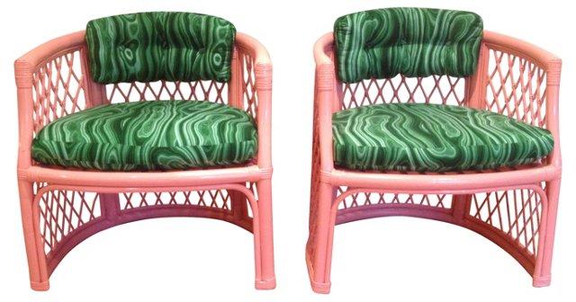 Coral & Faux-Malachite  Chairs, Pair