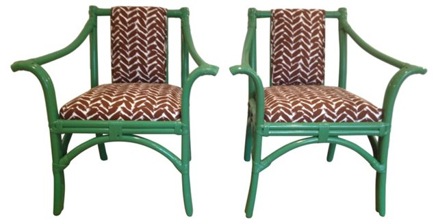 Green Rattan Armchairs, Pair