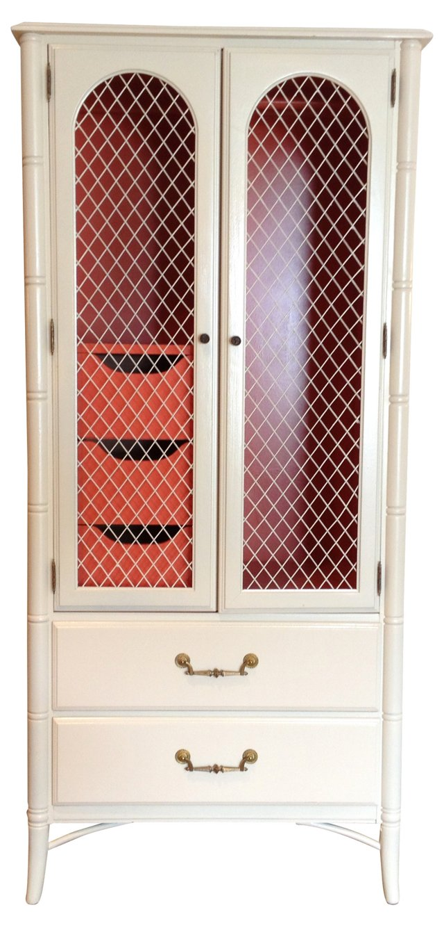 Cream & Coral Faux-Bamboo Armoire