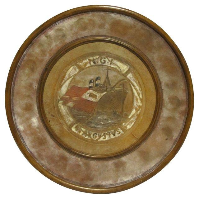 Leather & Walnut Ship Plaque