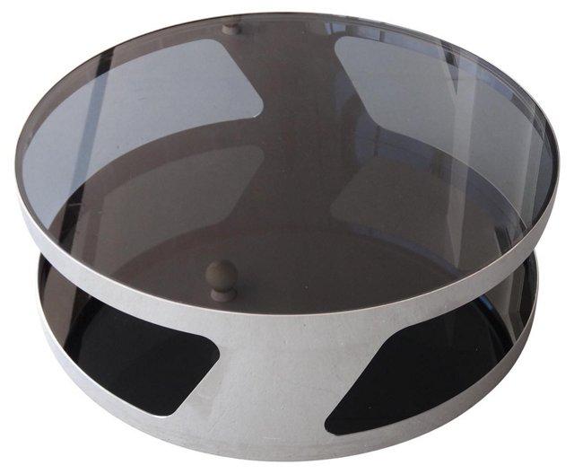 1970s Circular Chrome Table