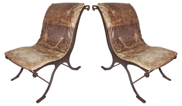 Iron  & Leather Chairs, Pair
