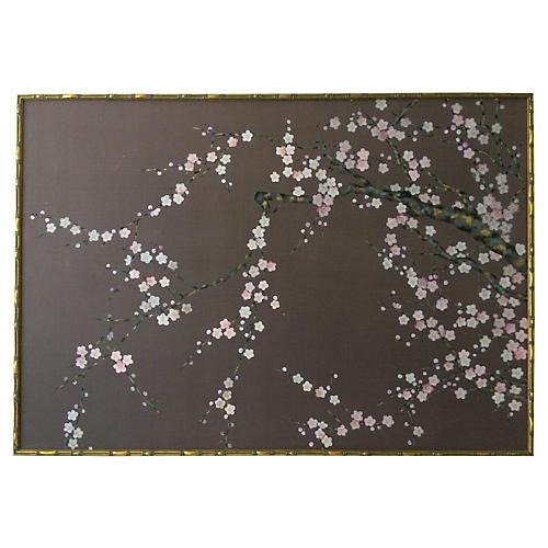 Japanese Cherry Blossom Painting on Silk