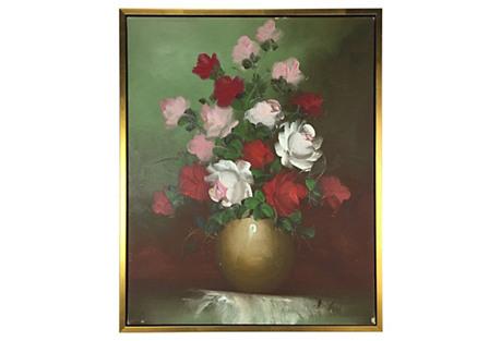 Roses in Vase Oil Painting