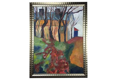 Impressionist Barn Oil Painting