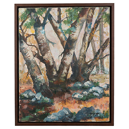 Birch Woods Signed Oil