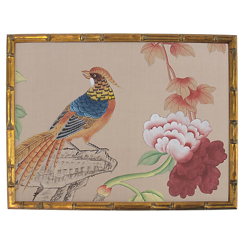 Pheasant on Rock Painting on Silk