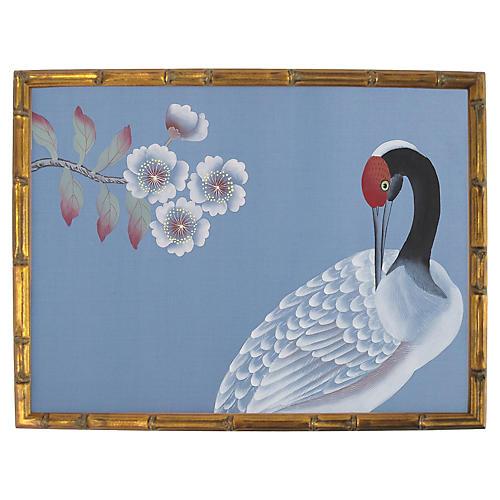 White Crane on Blue Silk