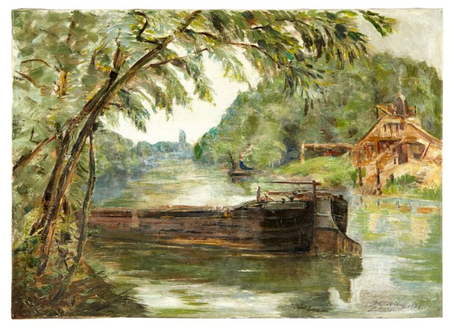 River Barge by R. Godefroy
