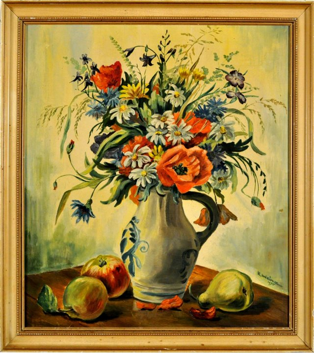 Wild Flowers in a Vase with Fruit