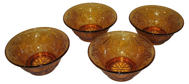 Amber Pressed Glass Bowls, S/4