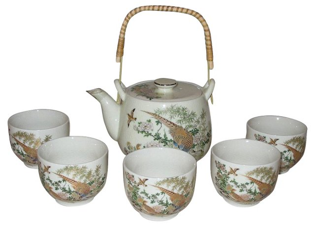 Japanese Teapot & 5 Cups