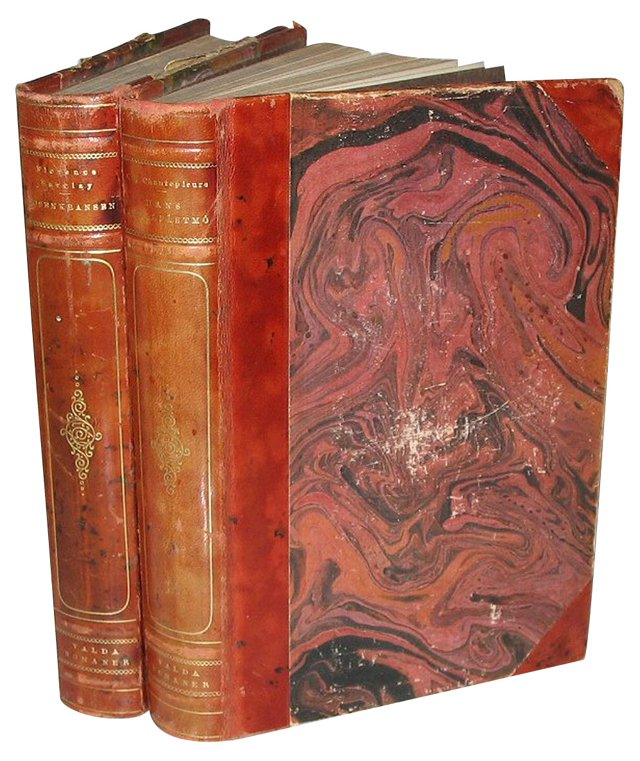 Decorative Red Leather Books, Pair