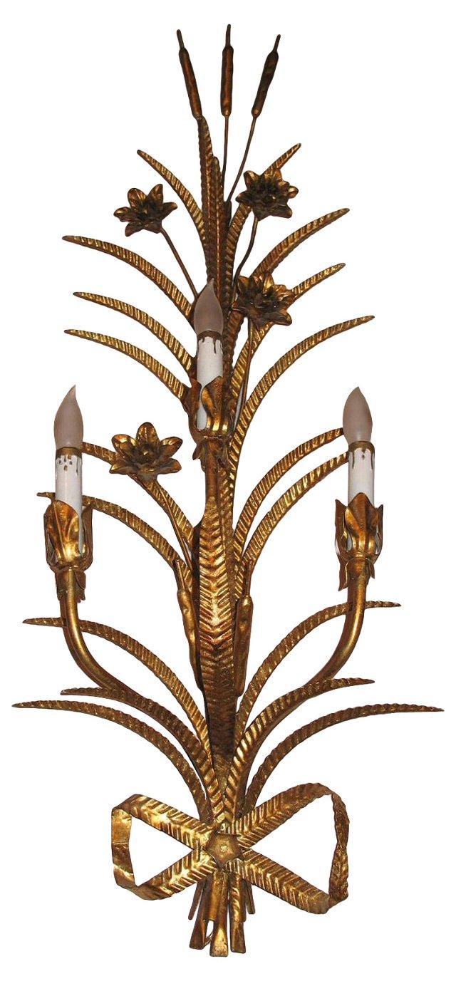 Italian 3-Arm Gold Sconce