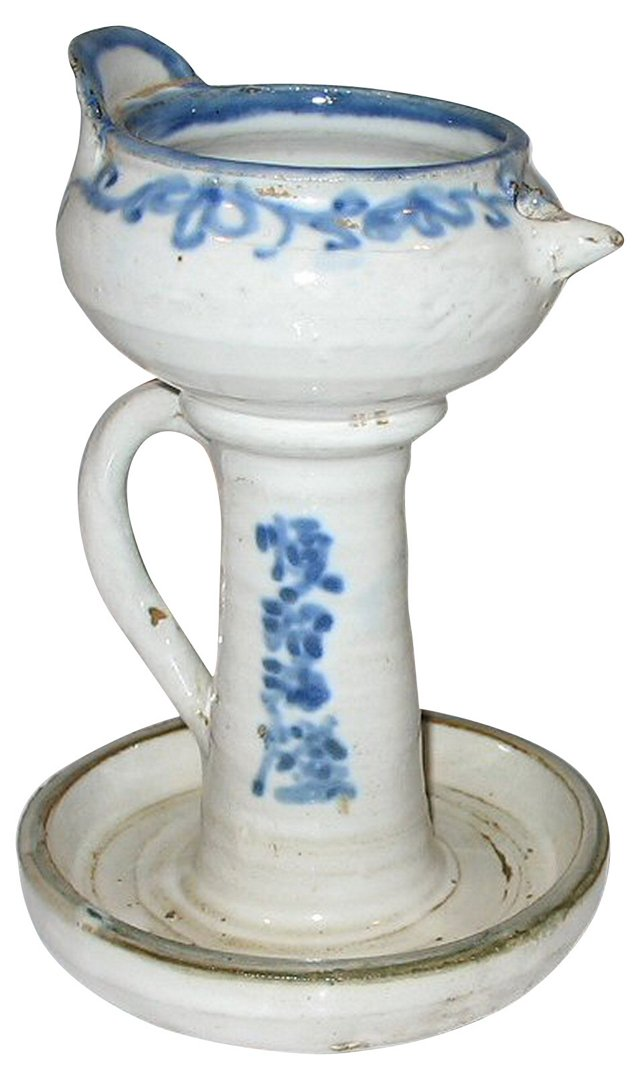 Blue & White Chinese Oil Lamp